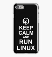 Keep Calm and Run Linux - Funny White Design for Computer Geeks iPhone Case/Skin