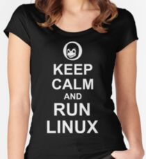 Keep Calm and Run Linux - Funny White Design for Computer Geeks Women's Fitted Scoop T-Shirt