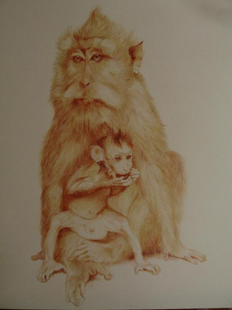 Monkey Mother Monkey Baby  by Suryani Shinta