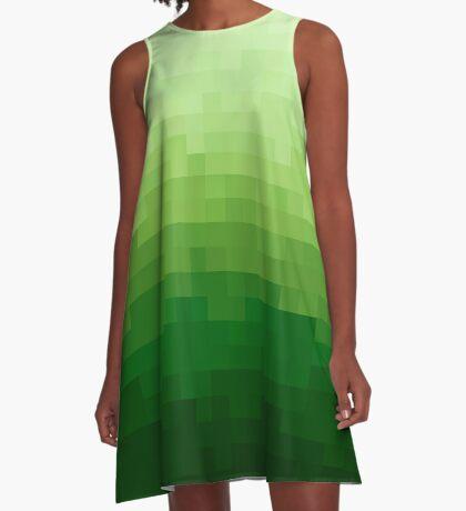 Gradient Pixel Green Vestido acampanado