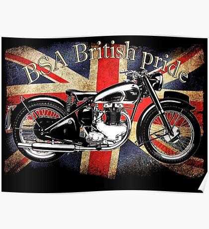 Vintage Classic British BSA Motorcycle Icon Poster