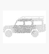 Land Rover Defender 110 Word Cloud Photographic Print