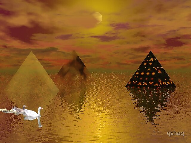 Pyramid Sunset with Geese by qshaq