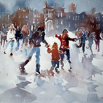 Ice Skating At Hampton Court Palace London by ballet-dance