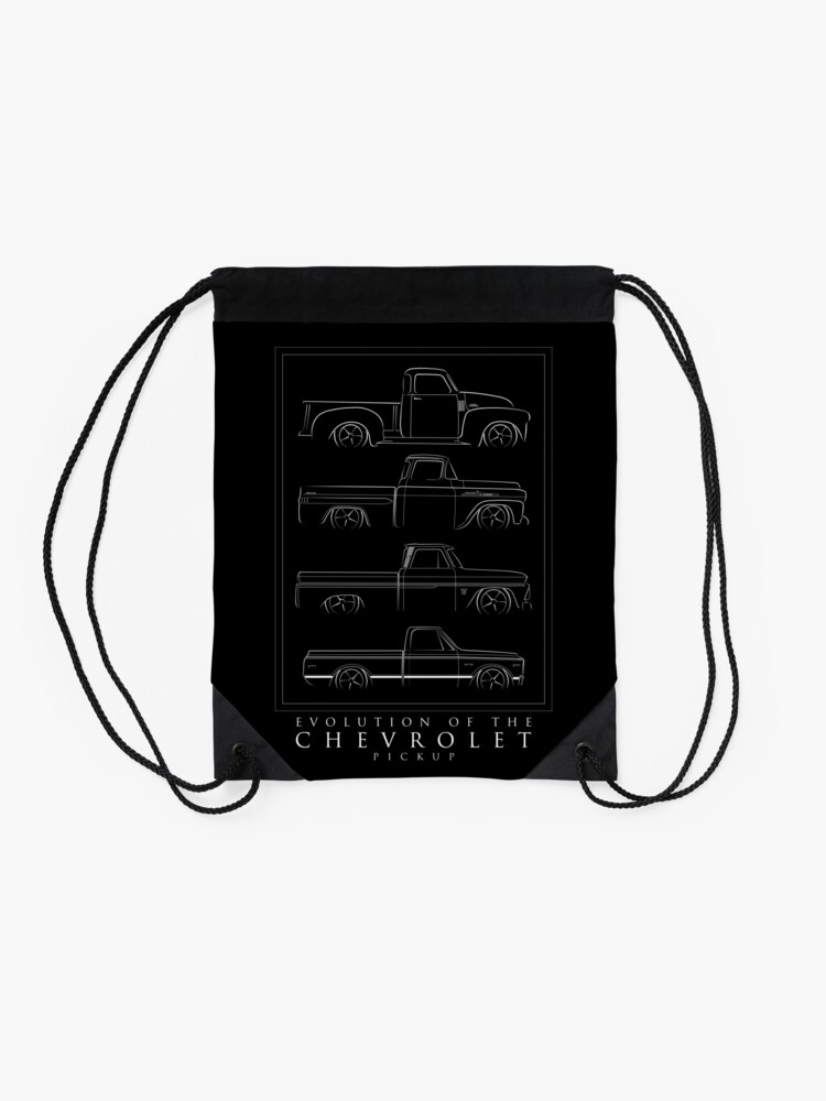 Alternate view of Evolution of the Chevy Pickup  Drawstring Bag