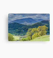 Wetherlam from above Elterwater Lake District Canvas Print