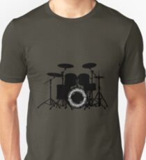 Drums with round music sheet (black) Unisex T-Shirt