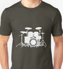 Drums with round music sheet (white) Unisex T-Shirt