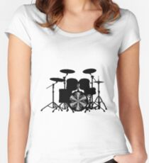 Drums with round vortex music sheet (black) Women's Fitted Scoop T-Shirt