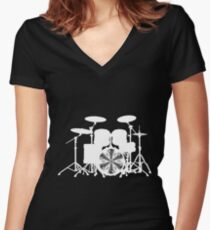 Drums with round vortex music sheet (white) Women's Fitted V-Neck T-Shirt