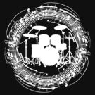 Drums inside circle of music sheet (white) by EleYeah