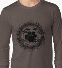 Drums inside circle of music sheet (black) Long Sleeve T-Shirt