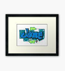 Jane Blue & Green Graffiti Piece Framed Print