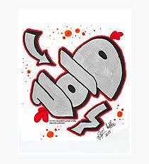Chrome, Red, Black Void Graffiti Piece Photographic Print