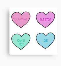 Harsh Candy Hearts Canvas Print