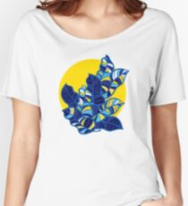 Pop foliage on Yellow Women's Relaxed Fit T-Shirt