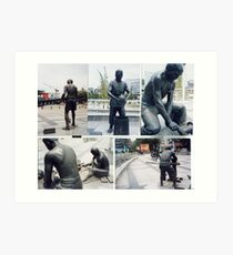 Photographs of bronze statues of Chinese Ceramic pottery workers.  Art Print