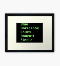 Blue Horseshoe Loves Anacott Steel Framed Print