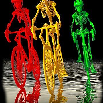 Skeletons riding bikes  by fotokatt