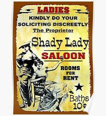 SHADY LADY SALOON:Vintage Advertising Sign Print Poster