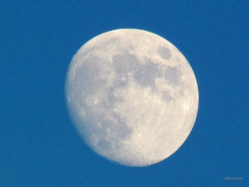 Blue sky daytime moon by stlmoon