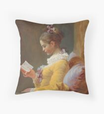 Young Girl Reading Painting by Jean-Honoré Fragonard Throw Pillow