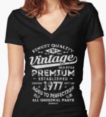 Vintage 1977 Birthday Gift Idea Women's Fitted V-Neck T-Shirt