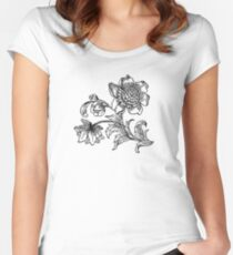 Flower Drawing Women's Fitted Scoop T-Shirt