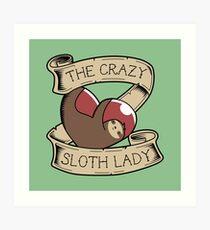 Crazy Sloth Lady Tattoo Art Print
