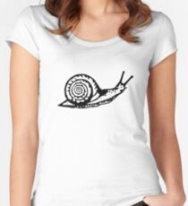 Snail Drawing Women's Fitted Scoop T-Shirt