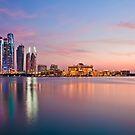 Abu Dhabi cityscape at dusk by Viktoryia Vinnikava