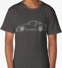 Porsche 991 GT3 Side View Blueprint Long T-Shirt