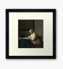 A Lady Writing Oil Painting by Johannes Vermeer Framed Print