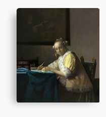 A Lady Writing Oil Painting by Johannes Vermeer Canvas Print
