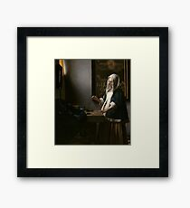 Woman Holding a Balance Oil Painting by Johannes Vermeer Framed Print