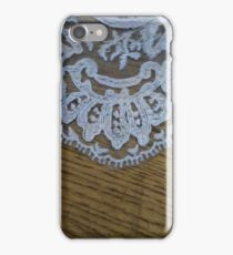 Wedding dress lace train on wood grain iPhone Case/Skin