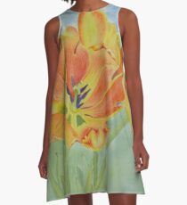 Farmers Market Tulips Watercolor A-Line Dress