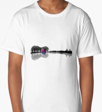 Music instrument tree silhouette ukulele guitar shape Long T-Shirt