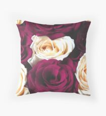 Red and yellow floral natural roses background Throw Pillow