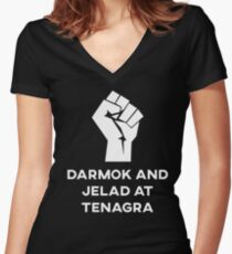 Darmak and Jelad at Tenagra Women's Fitted V-Neck T-Shirt