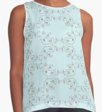 Ribbons and Roses Two On Blue Sleeveless Top