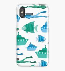 Blue Green Aquatic Print iPhone Case