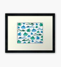 Blue Green Aquatic Print Framed Print
