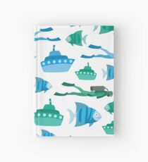 Blue Green Aquatic Print Hardcover Journal