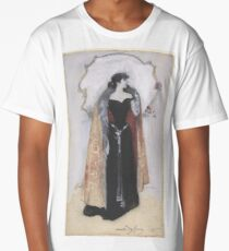 Woman in evening clothes and cape standing in front of mirror, Dudley Hardy Long T-Shirt