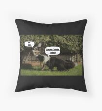 Border Collies at Play Throw Pillow