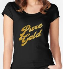 Pure Gold - Gold Typography Women's Fitted Scoop T-Shirt