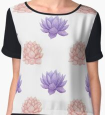 Watercolor Pink and Purple Succulent Pattern Women's Chiffon Top