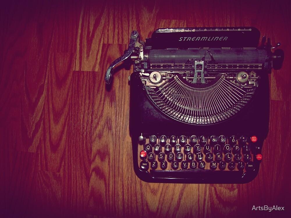 Typewriter on hardwood floor by ArtsByAlex