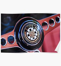 1967 Jaguar E-Type Roadster Steering Wheel Emblem -1466c Poster